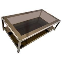 Mid-Century Modern 23-Karat Gold-Plated Two-Tier Coffee Table