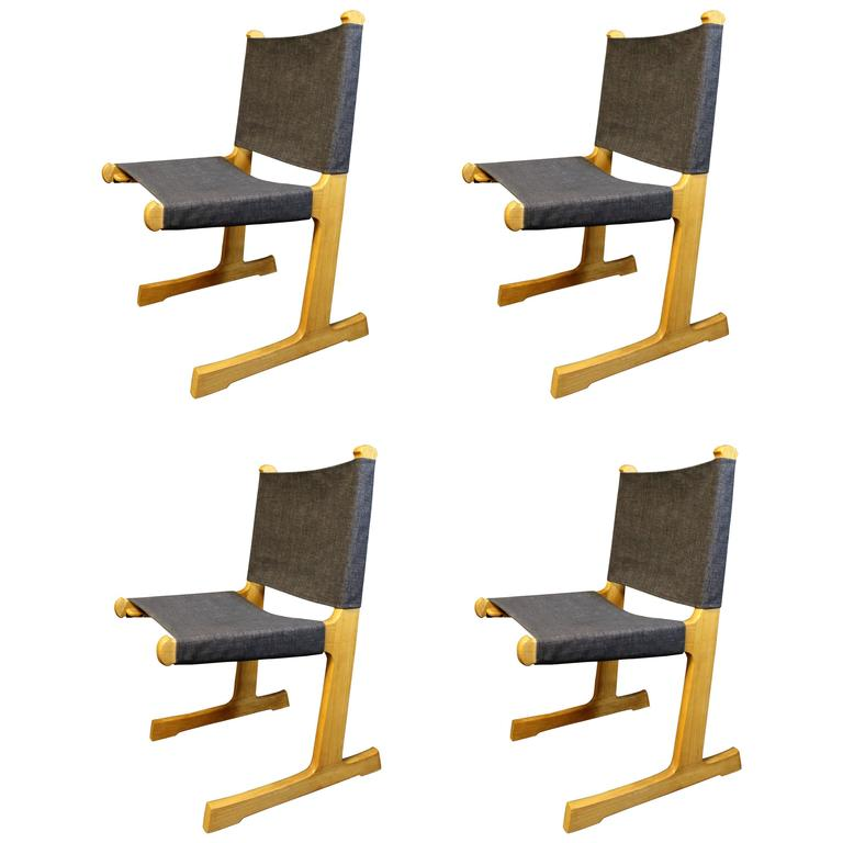 Four Ditte and Adrian Heath Cantilevered Danish Dining Chairs for France and Son