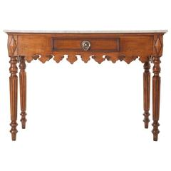 French 19th Century Marble-Top Walnut Pastry Table