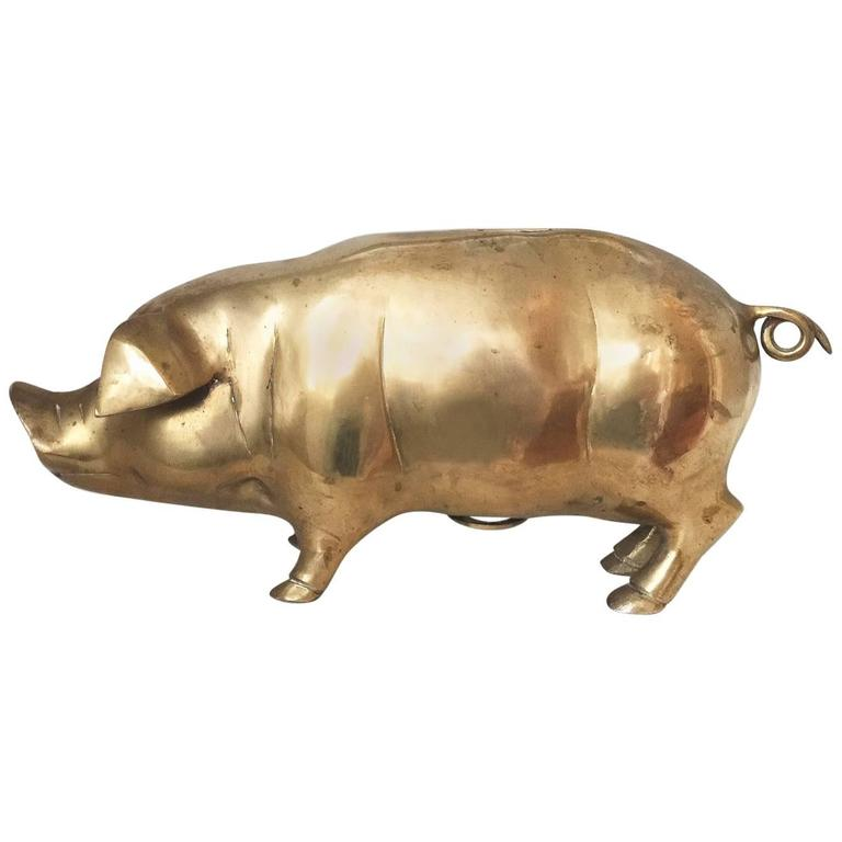 Antique English Cast Brass Pig Butchers Shop Display Money Box At 1stdibs
