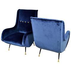 Pair of Italian Velvet Lounge Chairs Aldo Morbelli, Isa Bergamo, Italy, 1950s