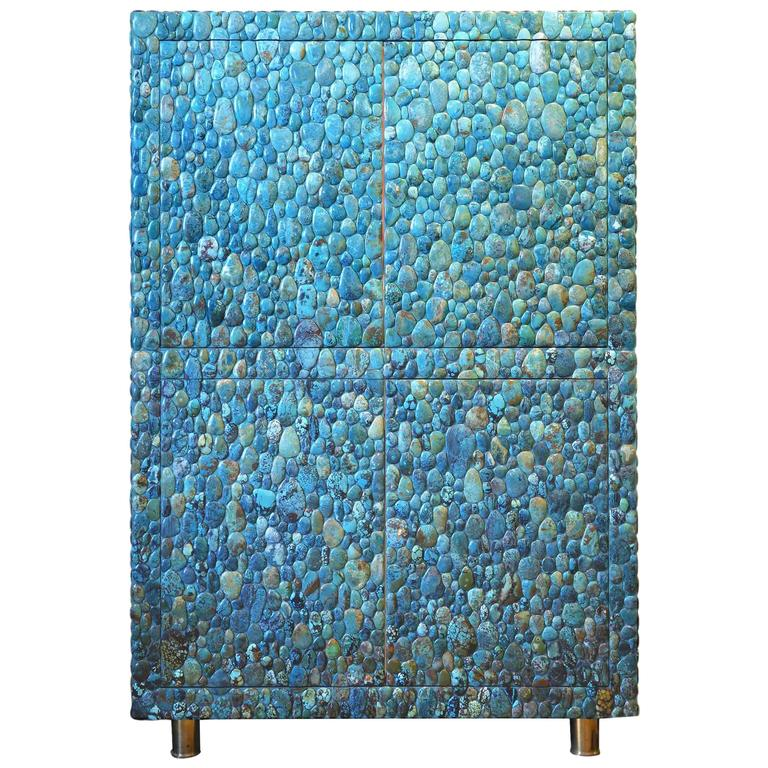 Unique Turquoise Cabinet by Kam Tin