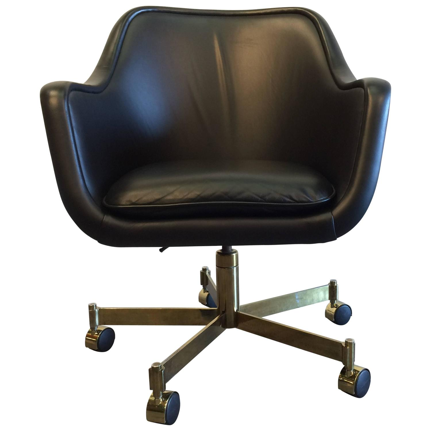 Desk Chair by Ward Bennett Black Leather and Brass Finish at 1stdibs