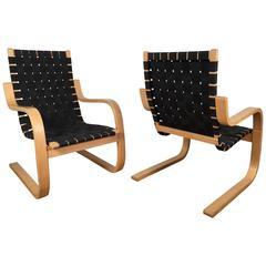 Pair of Alvar Aalto #406 Lounge Chairs