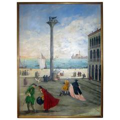 San Marco Piazza Large Oil Painting by Valerio Zerbo