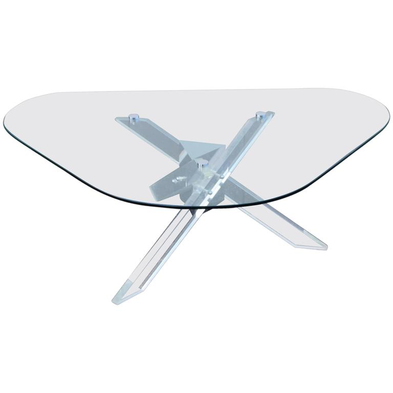 Large lucite chrome and brass coffee table at 1stdibs - 1970s Kidney Shape Lucite And Chrome Coffee Table At 1stdibs