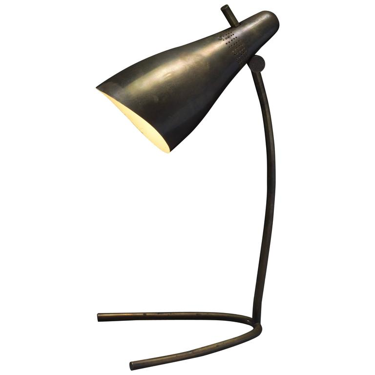 Rare Danish Modernist Adjustable Curved Brass Table Lamp, 1950s