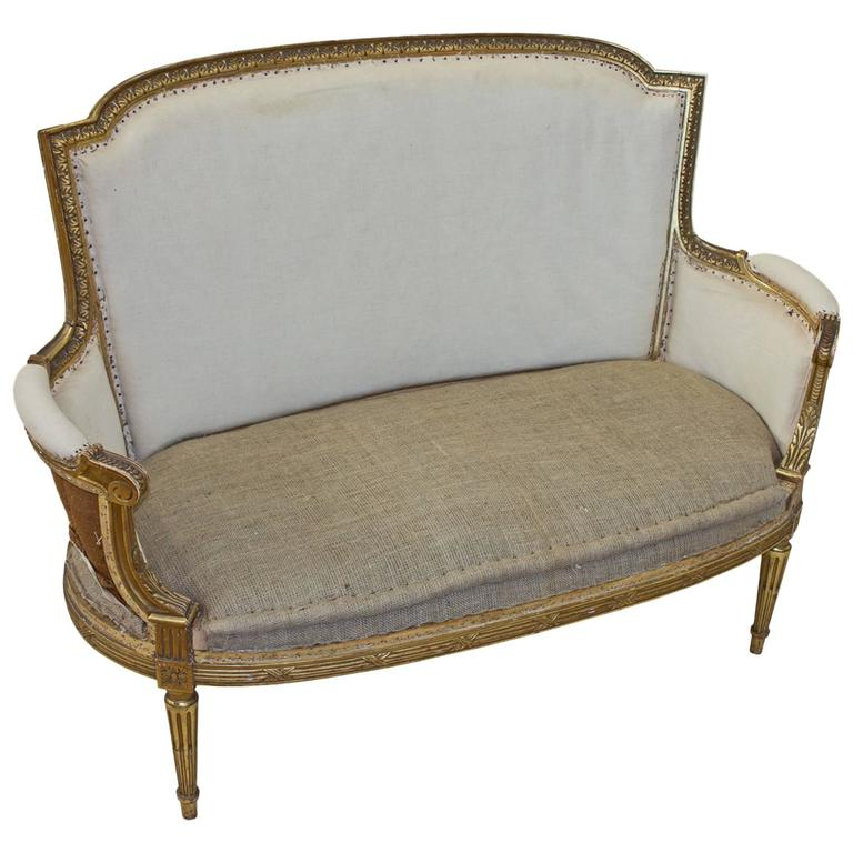 Petite French Bergère Settee For Sale