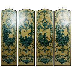Four Italian 19th Century Blue Grisailles, Four Seasons