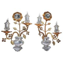 Pair Gilt Floral and Urn Crystal Baguès Style Wall Sconces