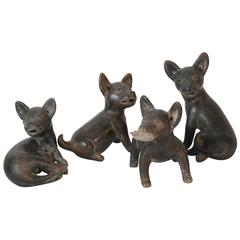 21st Century Set of Four Ceramic Gray Replica Xoloitzcuintle Dogs