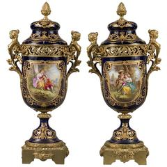 Pair of 19th Century French Sevres Gilt Bronze-Mounted Cobalt Blue Lidded Urns