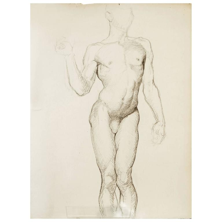 """Male Nude with Cocked Pelvis,"" Superb 1930s Drawing by Dunbar Beck"