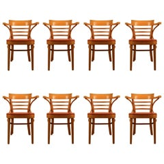 Set of Eight Matching Dining Chairs Made in Yugoslavia Attributed to Thonet