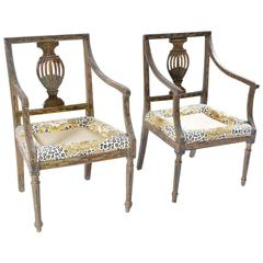 Armchairs Pair 18th Century  Venetian Polychrome Painted