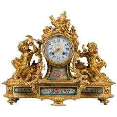 Very Fine 19th Century French Ormolu Bronze and Sevres Porcelain Mantle Clock