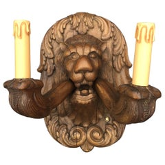 Unique and Wonderful Pair Large and Carved Wood Lion Head Sculpture Wall Sconces