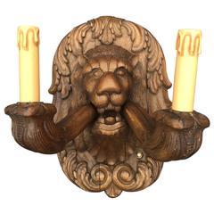 Wonderful Pair Large Carved Wood Lion Head Sculpture Wall Sconces