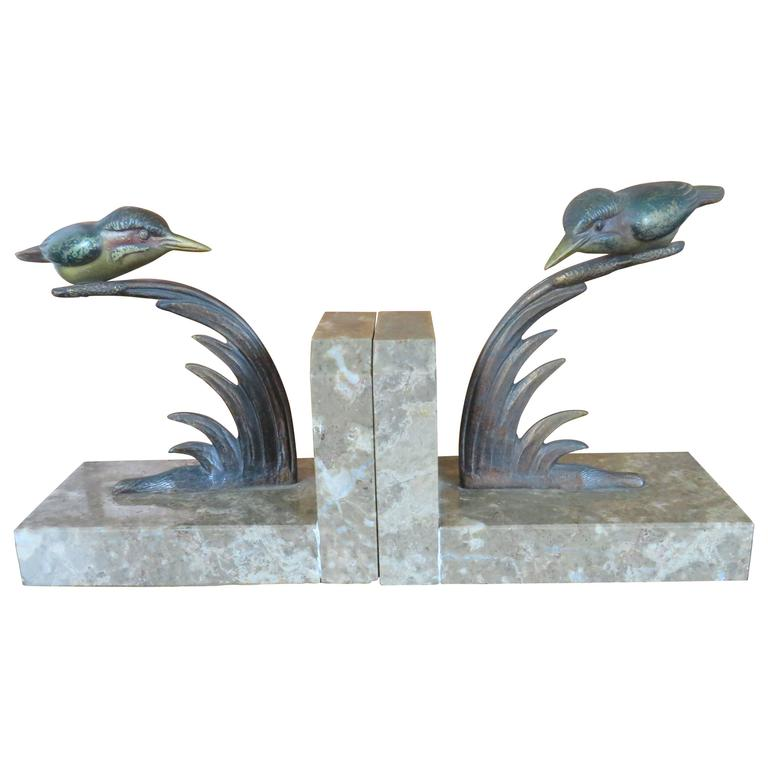 Art Deco Bookends with Cold Painted Bronze Kingfisher Birds on Marble Base 1