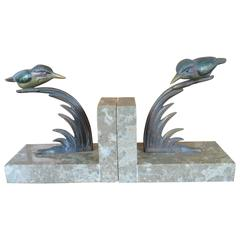 Art Deco Bookends with Cold Painted Bronze Kingfisher Birds on Marble Base
