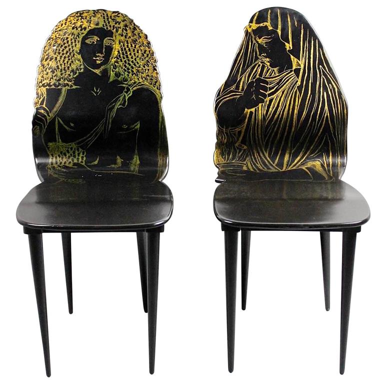 """Pair of Fornasetti """"Quattro Stagione"""" Chairs Inverno and Autunno"""