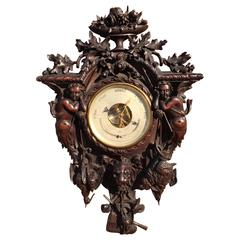 Oversized and Top Quality Carved 19th Century French Hunting Barometer & Angels