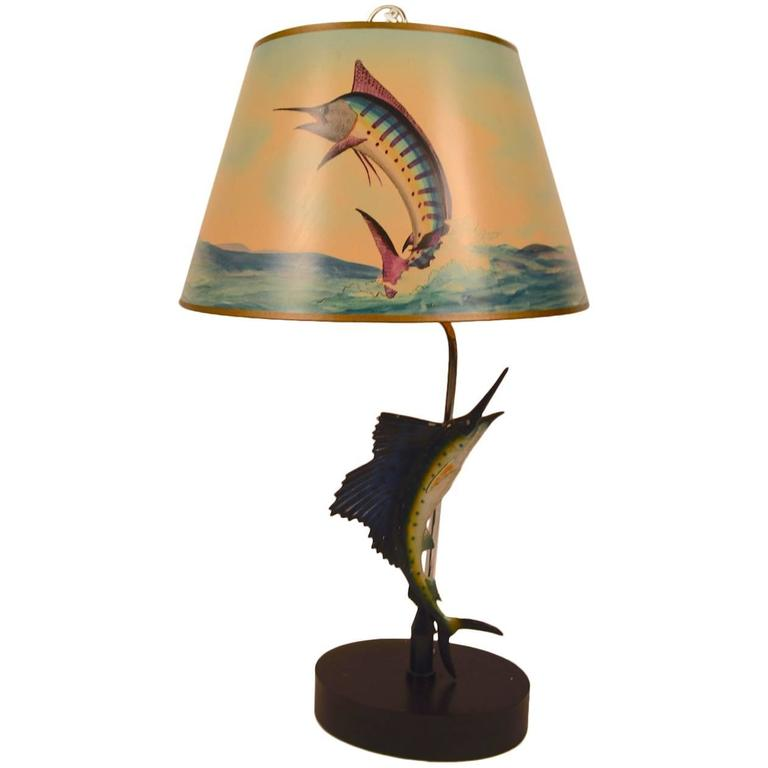 Crazy Sailfish Motif Table Lamp With Signed Shade For
