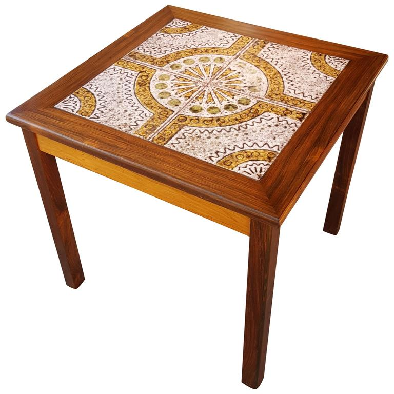 Danish Modern Rosewood And Tile End Table 1