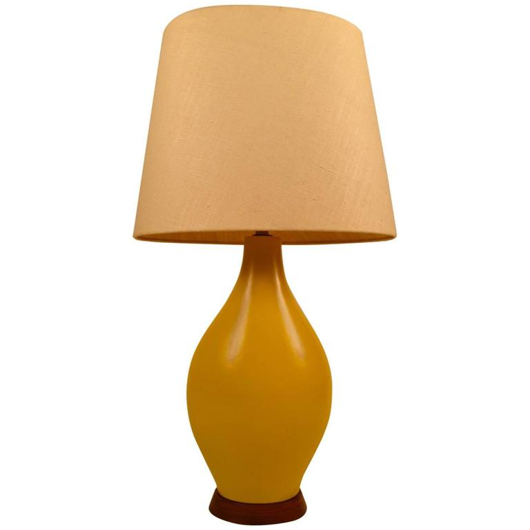 Large Teardrop Form Yellow Ceramic Table Lamp For Sale At