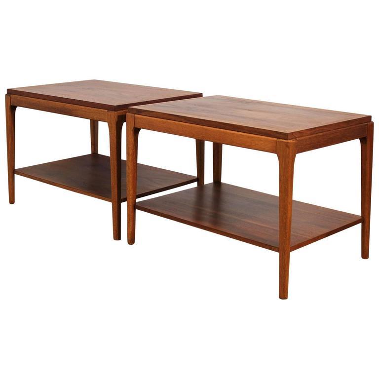 Pair of Lane Walnut Modernist End Tables