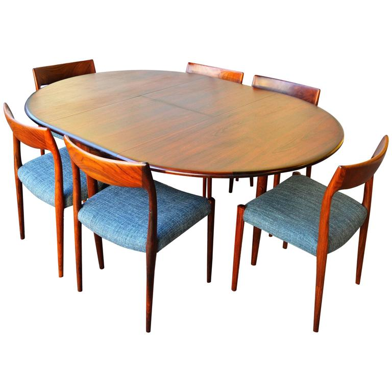 Unique Dining Sets: Unique Restored N.O. Moller Rosewood Round One Leaf Dining