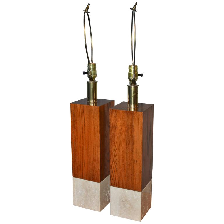 Striking Pair of Marble and Wood Italian Cubic Table Lamps