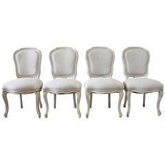 Set of Four Painted Louis XV Style Dining Chairs in Irish Linen