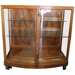 Modern French Regency Vitrine or Display Case with Curved Glass and Walnut