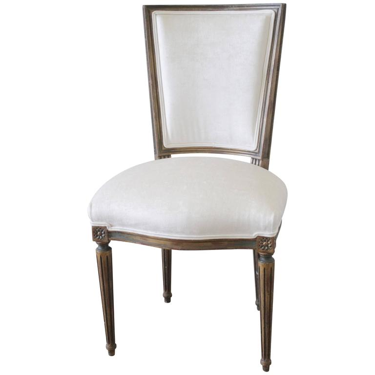 Antique Louis XVI French Desk Chair In White Velvet For Sale At 1stdibs