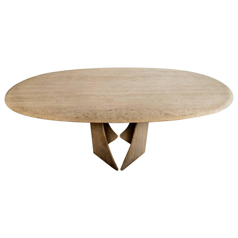 Oval Travertine Dining Table.