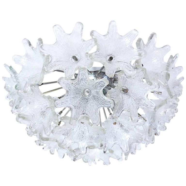 Murano Glass Flower Sputnik Flush Mount Chandelier by Venini for VeArt