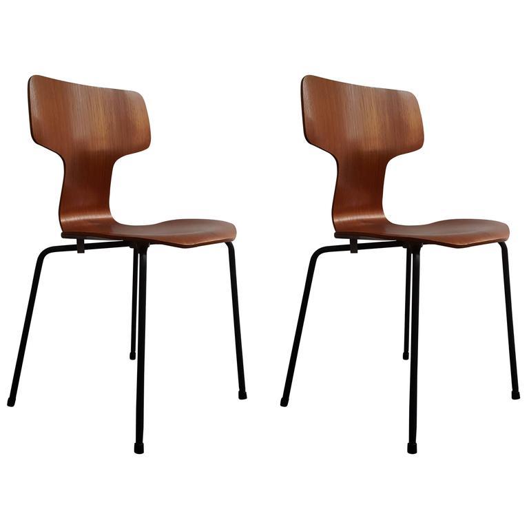 Mid century modern teak dining set - Model 3103 Hammer Chair By Arne Jacobsen For Fritz Hansen