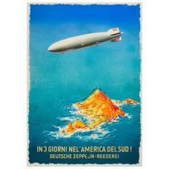 Original Vintage Zeppelin Travel Advertising Poster 'In 3 Days to South America'