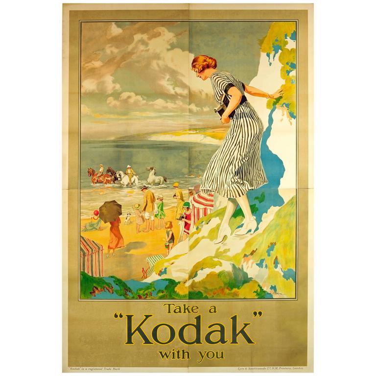 "Rare Large Original Vintage Camera Advertising Poster ""Take A Kodak With You"""