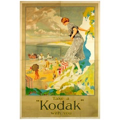 Rare Large Original Vintage Camera Advertising Poster Take A Kodak With You Sea