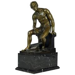 'The Architect' Neoclassical Bronze Figure of a Seated Young Man by Hans Keck