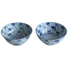 18th Century Pair of Chinese Porcelain Bowls Blue and White, Qing circa 1770