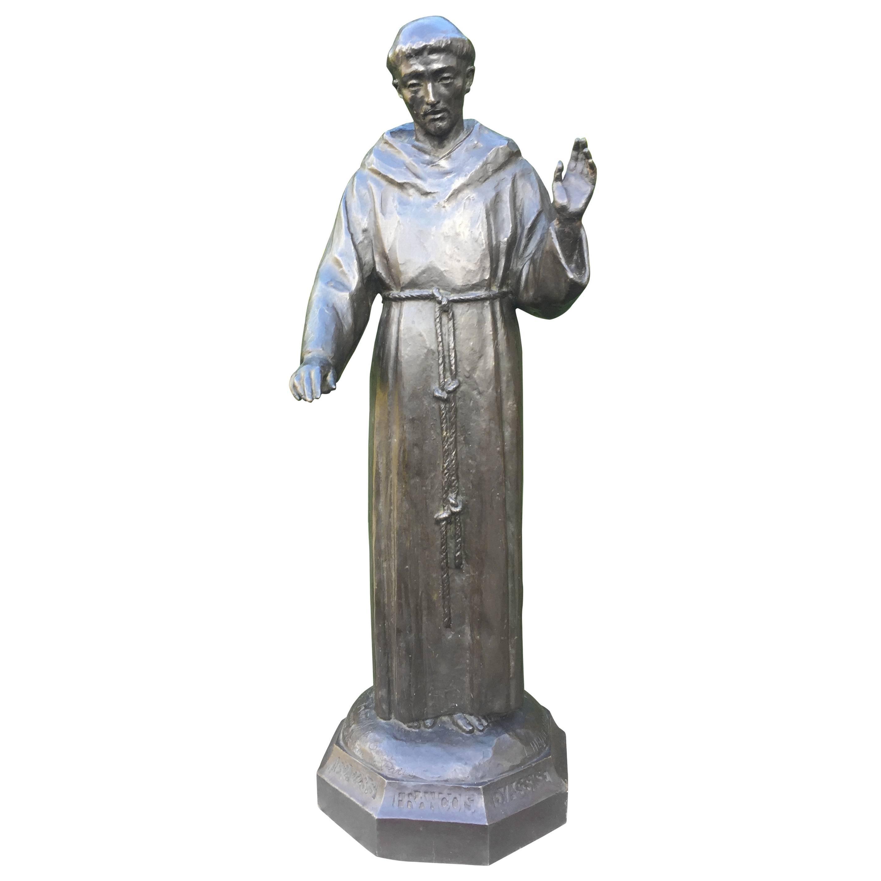 Rare Bronze Religeous Saint Sculpture Statue by France Artis Lucienne Heuvelmans