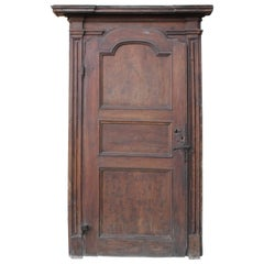 North Italian Walnut Door, Dated End of the 18th Century
