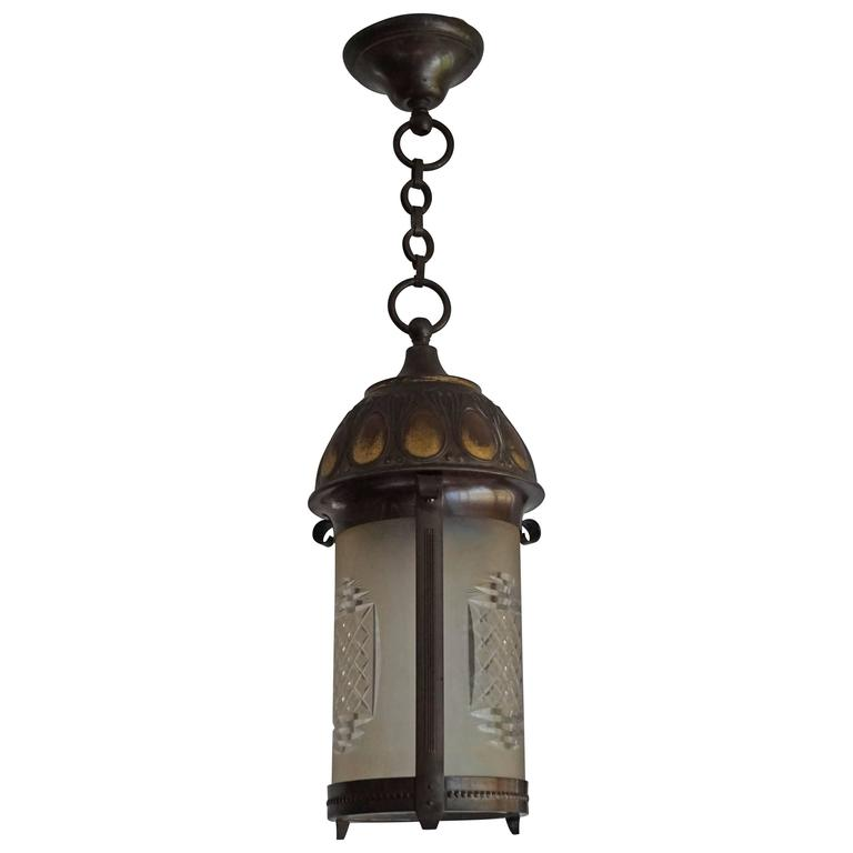 Early 20th Century Art Nouveau Brass And Cut Glass Pendant