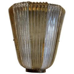 Single Italian Art Deco gold and clear Glass Sconce