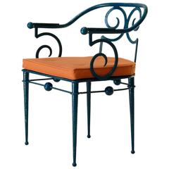 French Art Deco Wrought-Iron Chair in the Style of Poillerat, circa 1930s