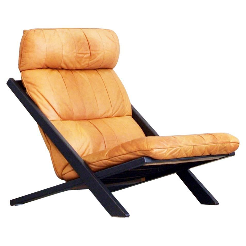 Rare De Sede Lounge Chair Uli Berger Cognac Leather 1970s High Back For Sale