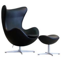 arne jacobsen egg chair and ottoman set black leather fritz hansen denmark arne jacobsen furniture